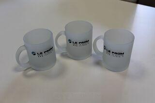 Glass mug with logo