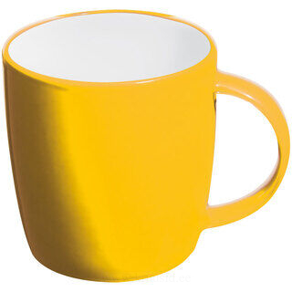 Ceramic cup, white inside and coloured outside